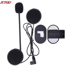 New V2 Stereo Earphone Microphone & Clip Accessories Suit for V2 BT Interphone Bluetooth Intercom Mini USB Plug Free Shipping!
