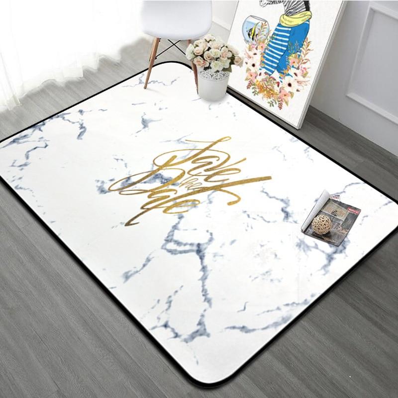 Motif de marbre nordique lettres d'or grand tapis pour la maison salon chambre douce Table côté enfants tapis avec cadeau gratuit