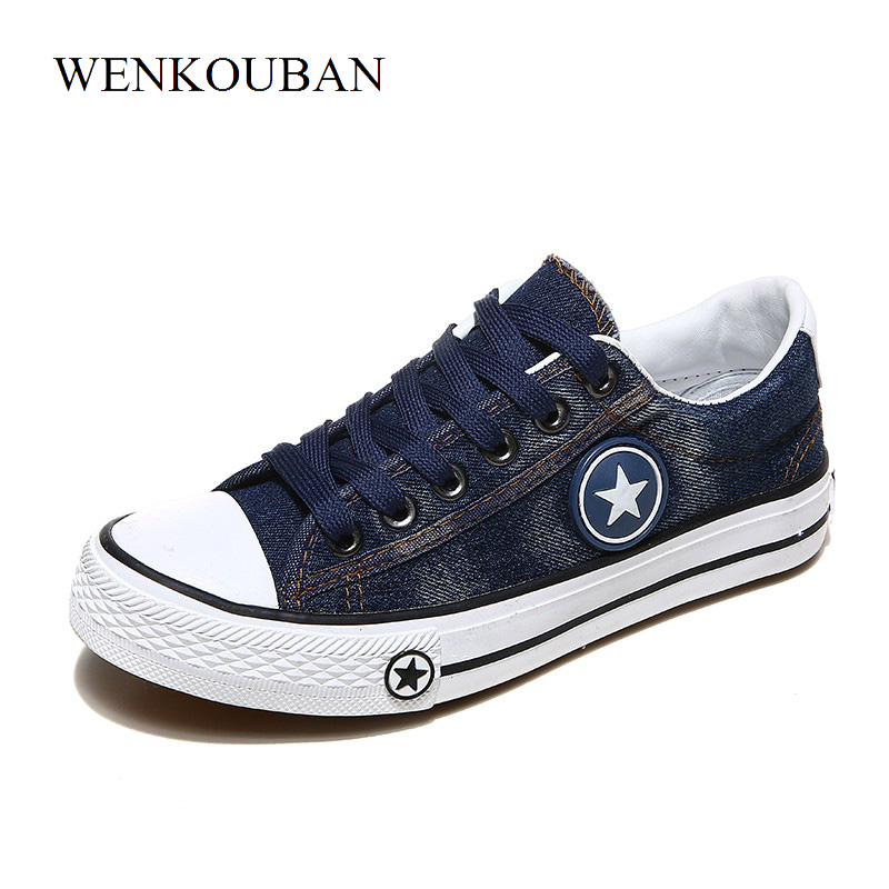Vulcanize Shoes Women Canvas Sneakers Flat Denim Shoes Female Trainers Basket Femme Ladies Casual Sneakers Blue Zapatos Mujer instantarts women flats emoji face smile pattern summer air mesh beach flat shoes for youth girls mujer casual light sneakers