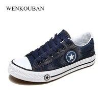 Vulcanize Shoes Women Canvas Sneakers Flat Denim Shoes Female Trainers Basket Femme Ladies Casual Sneakers Blue