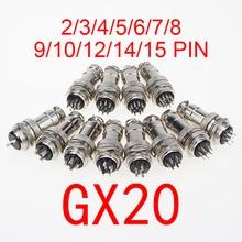1 комплект GX20 2/3/4/5/6/7/8/9/10/12/14/15 контактный штекер + гнездо 20 мм круглый проводной панельный авиационный разъем, штекер с крышкой