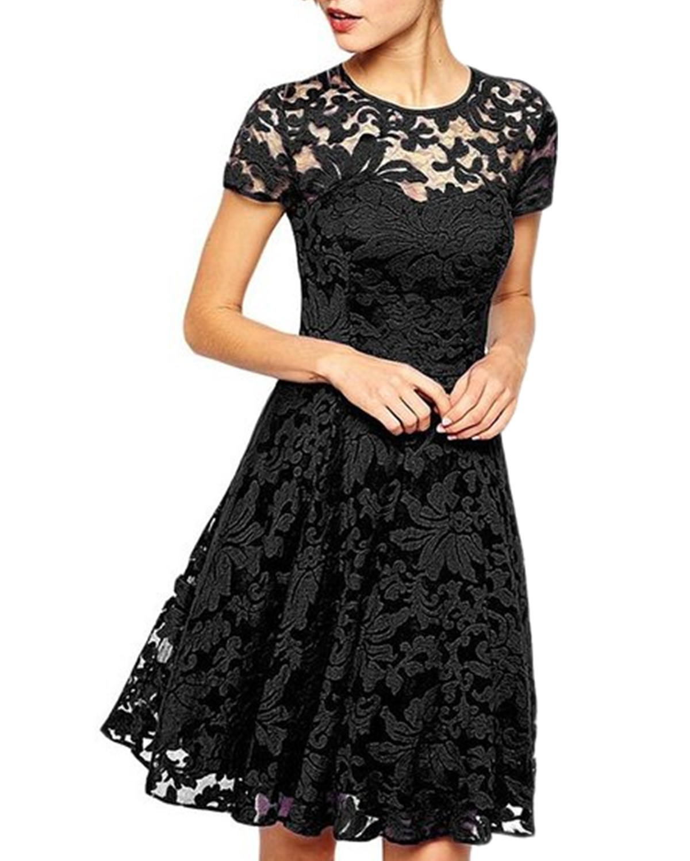 2019 летние кружевные мини-платья в стиле пэчворк, Повседневное платье трапециевидной формы с короткими рукавами и круглым вырезом, короткое ...