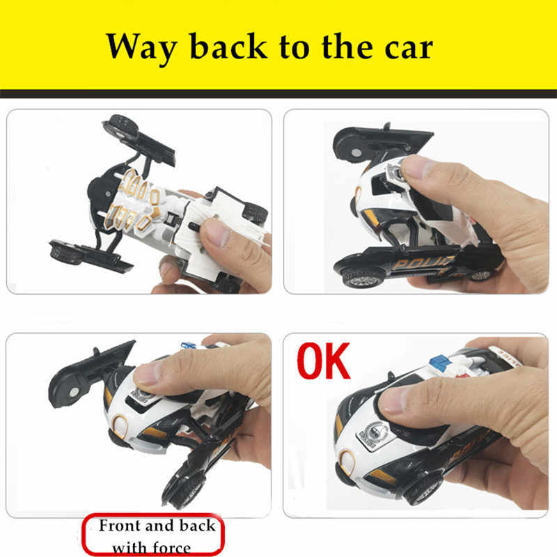 2 em Transformatio 1 Polícia Carro de brinquedo Puxar para trás Colisão Deformação Robô Modelo Do Veículo Dirigindo Carros Esportivos Meninos Brinquedos de Presente