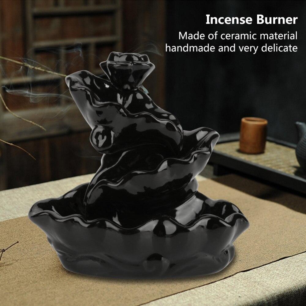 Black Porcelain Backflow Ceramic Cone Incense Burner Holder Buddhist Cones Home