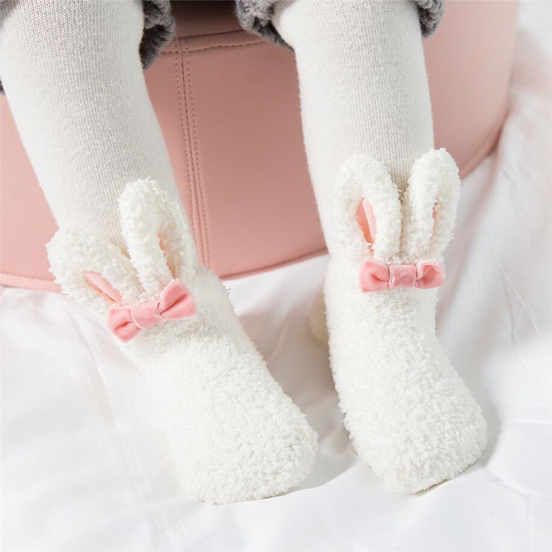Coral Fleece Baby Girls Socks Newborn Soft Cute Rabbit Baby Socks Winter Style Size S(3M,6M,9M)andM(12M,18M,24M)