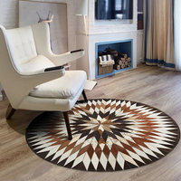 Pure cowhide carpet living room coffee table bedroom full bedside blanket round computer chair cushion stitching