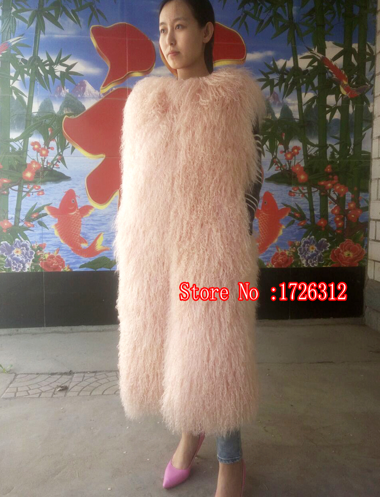 Women long paragraph real beach wool round neck fur vest fur coat wool coat mongolian sheep