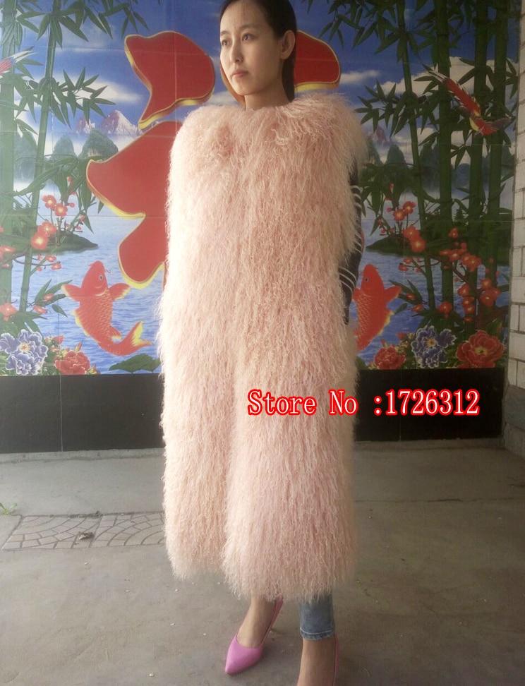 Ženy dlouhý odstavec skutečné plážové vlny kolem krku vesta kožich kabát vlněný kabát mongolská ovčí kožešina vesta samice