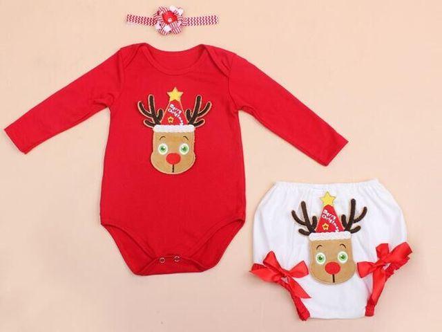 Новый Девочка Одежда Устанавливает Младенческой ребенка Первое Рождество Ползунки + Оголовье + PP брюки 3 шт. Набор красный Bebe Первый День Рождения Костюмы
