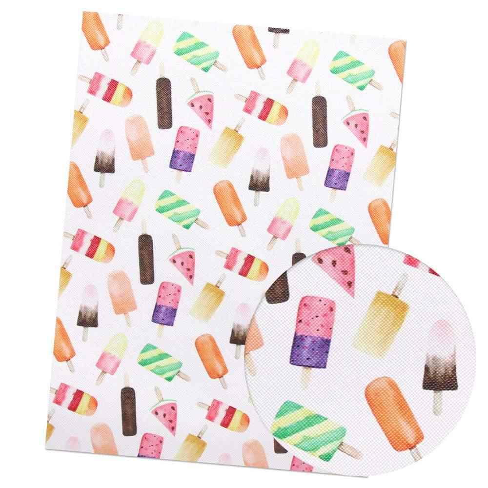 Xugar akcesoria 22*30 cm owoce lody na lato drukowane faux sztuczne kokarda do włosów z syntetycznej skóry wyroby dekoracyjne DIY