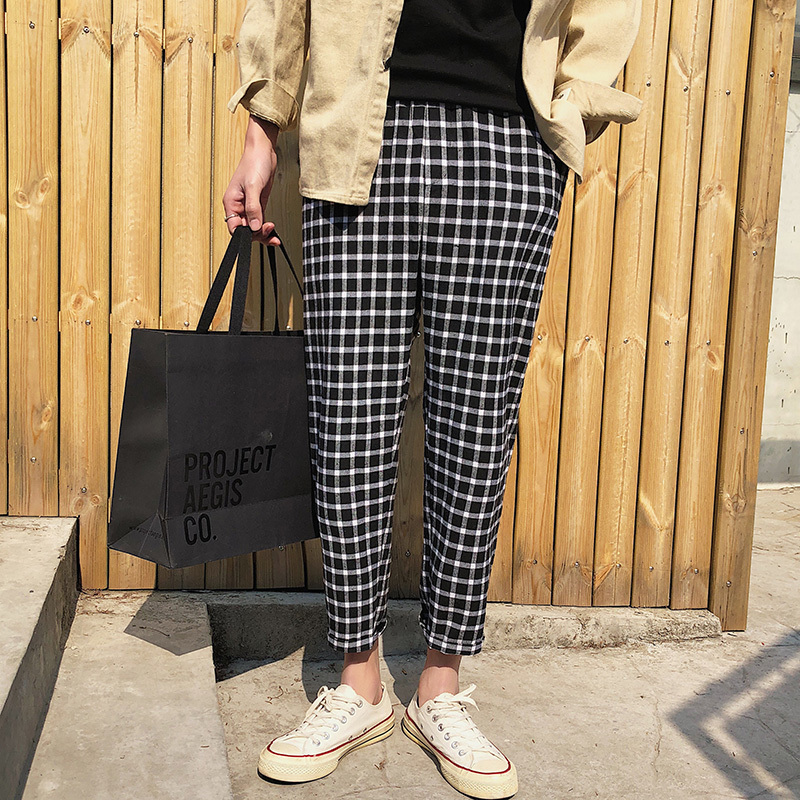 2018 Spring And Summer New Men's Fashion Tide Lattice Bound Feet Ankle-length Pants Elastic Waist Loose Casual Trousers S-2XL