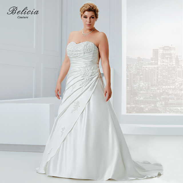 Belicia Couture Wedding dress Plus Size Satin Bridal Gown Beading Appliques  Strapless Sweetheart Lace Up Back Pleat Waist 1eae39ec9959