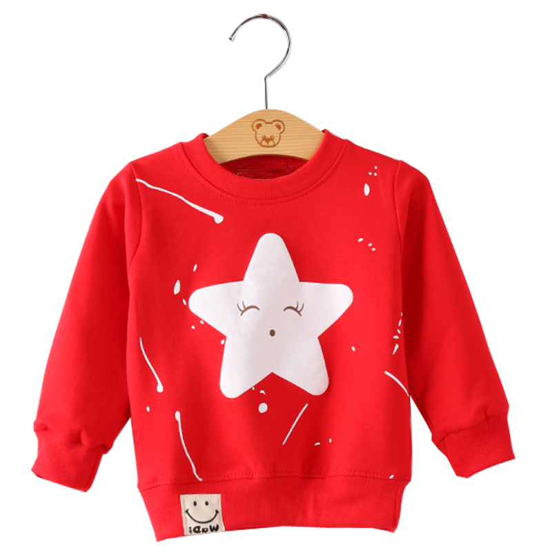 SeckinDogan Baby Sweatshirt Cotton Long Sleeves Baby Boy Clothes Cute Star Pattern Baby Girls Sweatshirts O-Neck Newborn Hoodies stylish cowl neck long sleeves color match batwing irregular design cotton blend sweater for women