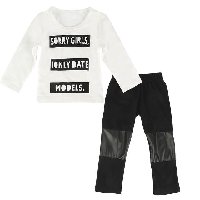 4dfd09fa8293 Online Shop 2pcs Infant Baby Kids Boys Long Sleeve T shirt Tops Pants  Newborn Outfits Black white Sorry Girls Letter Suit baby boy clothes