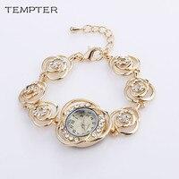 TEMPTER 2017 Brand Stainess Steel Dress Watches Girls Quartz Watch Bracelet Watch Ladies Fashion Women Crystal