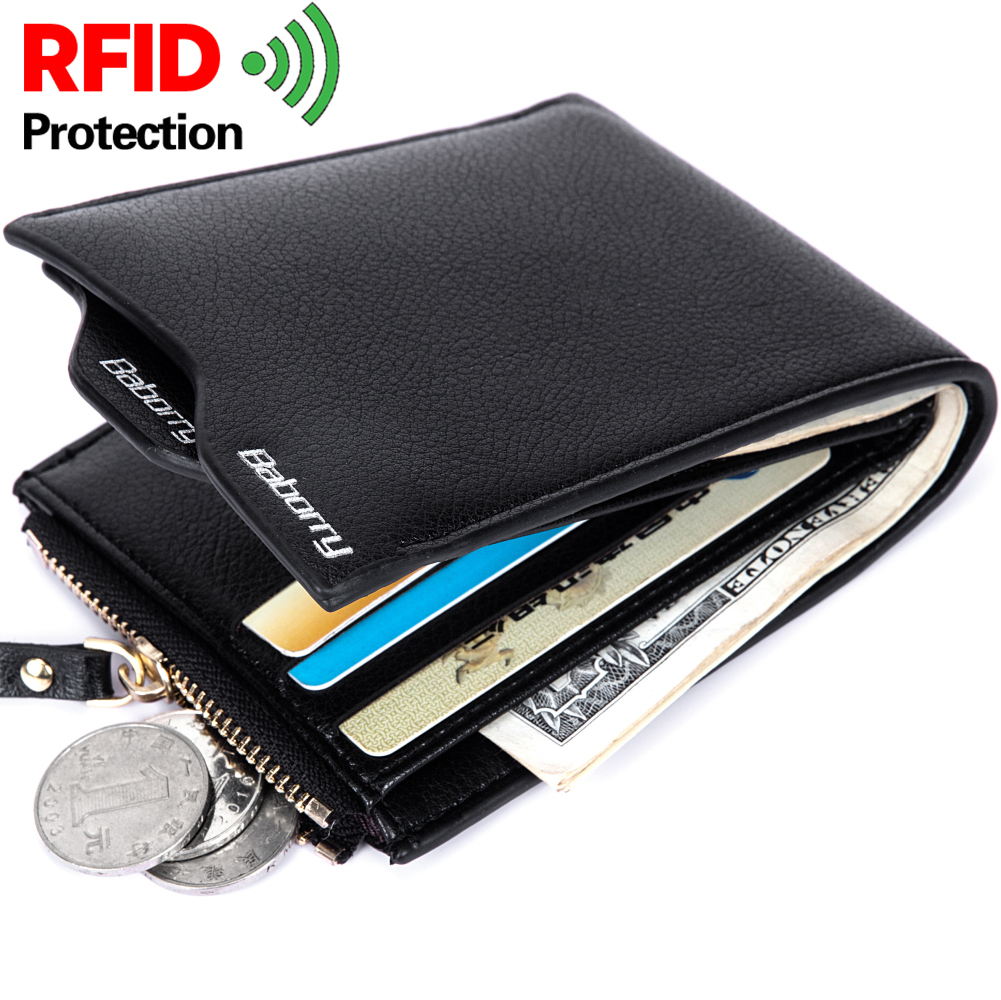 New Design RFID Protection Blocking Stop Wallet Vintage Casual Men Short Purse PU Leather Zipper Coin Pouch Card Case Anti-Theft