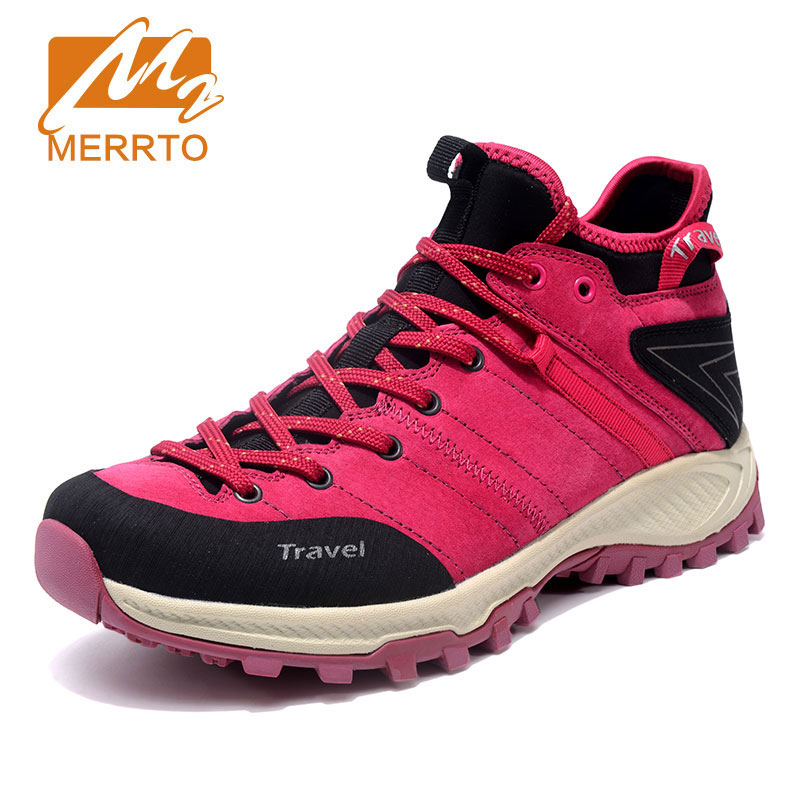 MERRTO Women Hiking Shoes Non slip Breathable Rock Climbing Shoes Outdoor Sports Shoe Head Pig Leather Hiking Boots Sneakers new handmade hiking shoes for men climbing boots breathable and non slip cowhide outdoor sneakers free shipping