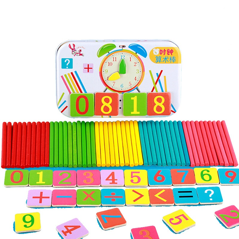 Wooden Baby Math Toy Counting Sticks early Education Wooden Montessori Toy Puzzle Calculate Game Toys Math toys with Iron box diy wooden building block 65pcs kid puzzle game assemble toy early education tool