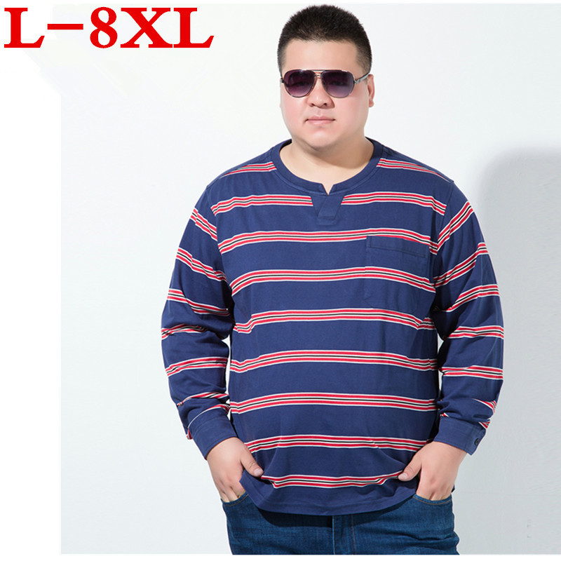 big Plus size 8XL 6XL 5XL 2018 New Autumn Winter Mens Long Sleeve T Shirt V Neck Striped T Shirt for Men big large size