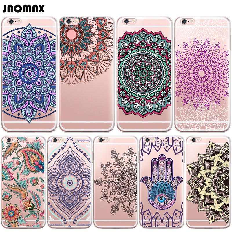 Beautiful Flower Henna Paisley Mandala Floral Case For iPhone X 8 Xs Max 6 6S Plus 5 5S SE 7 7 Plus Transparent TPU Phone Cover