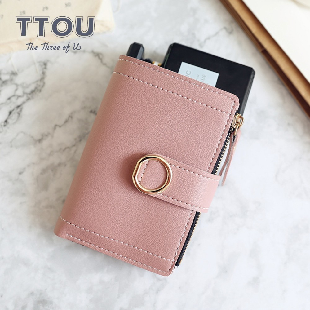 TTOU Fashion Women Short Wallets Small Brand Quality Leather Female Coin Purse Solid Ladies' Clutch Card Holder