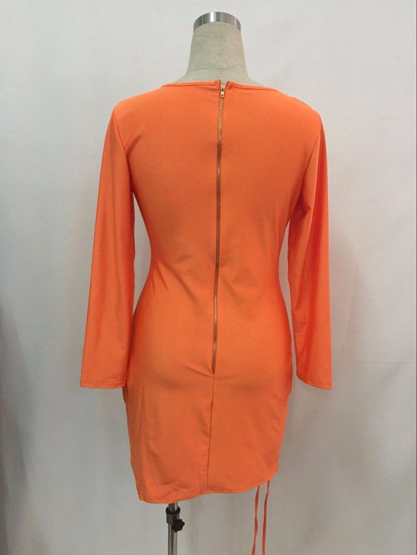 Orange Sheath Bohemian Dress Sexy Women Hollow Out Laced Up Bodycon Dress Hot Ladies V Neck Club Wear Mini Dress Long Sleeve