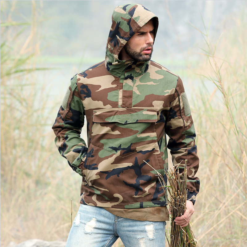 Honesty 2019 New Grain Camouflage Outdoor Dustcoats Jacket Hooded Mens Airsoft Paintball Camping Tactical Camo Beekeeping Shooting Coats Profit Small Hiking Clothings Camping & Hiking