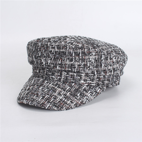 USPOP 2019 New women spring hat female plaid tweed newsboy caps bee decoration flat top military caps visor caps