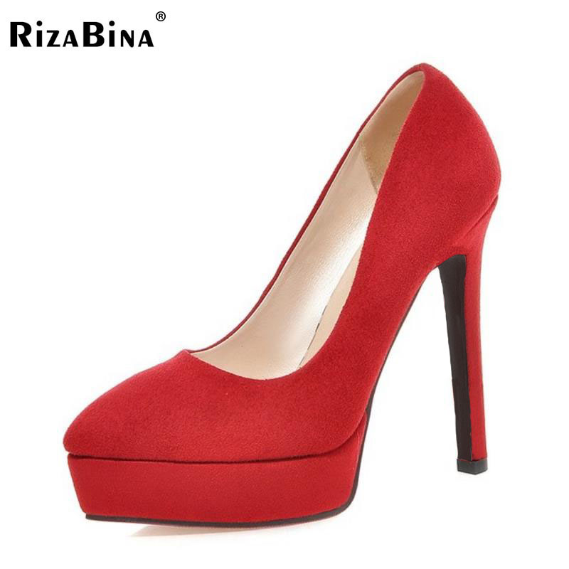 RizaBina Size 32-43 Pointed Toe High Heels Shoes Women Slip On Platform Velvet Pumps Office Daily Thin Heel Sexy Women Footwears women high heels plus size 32 42 sexy office pointed toe wedges shoes slip on women pumps fashion mixed color ladies shoes