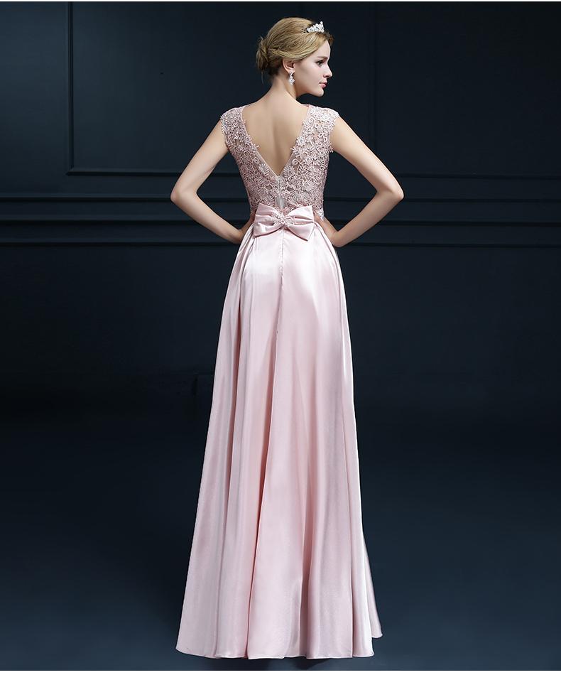 Embroidery Shoulder Straps Satin Long Evening Dress 5
