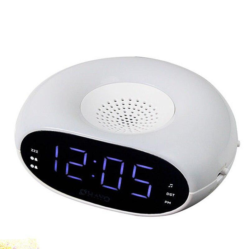 FM radio control digital LED mini portable portable desk alarm clock nap display with night light and sleep timer alarm clock