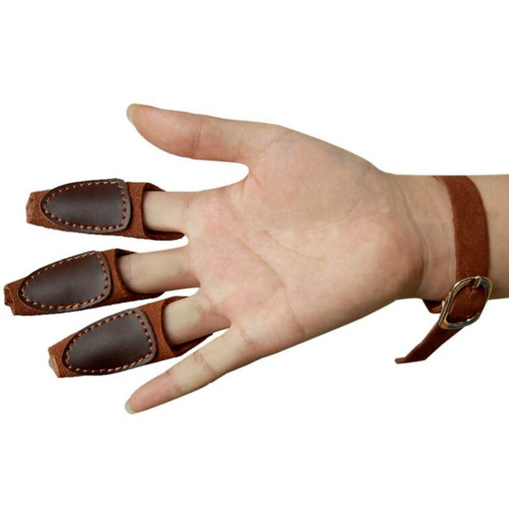 Black gloves at target - Archery Target Shooting Protective 3 Finger Guard Hunting Hand Protector Gear Glove Cow Leather Safety