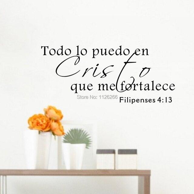 Citação Da Parede do Vinil Adesivos Todo Lo Puedo espanhol Bíblia En Cristo Que Me Fortalece Sala de estar Decoração Da Parede