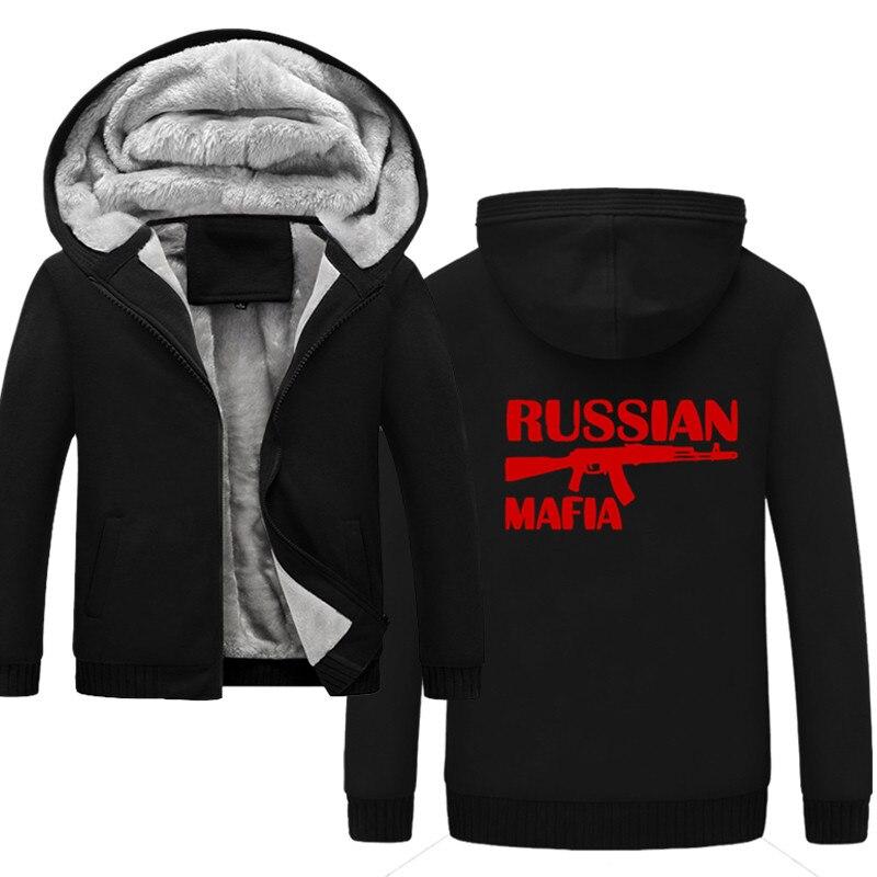 Survêtement fait sur commande d'hiver russe MAFIA hommes mode épaissir velours décontracté à capuche chaud épais sweat à capuche solide