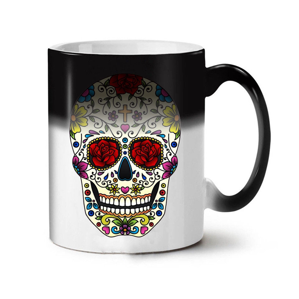 Colorful Skull Mugs Glass Heat Color Changing Cup Discoloration Magic Creative Personality Funny Ceramic Coffee Cup
