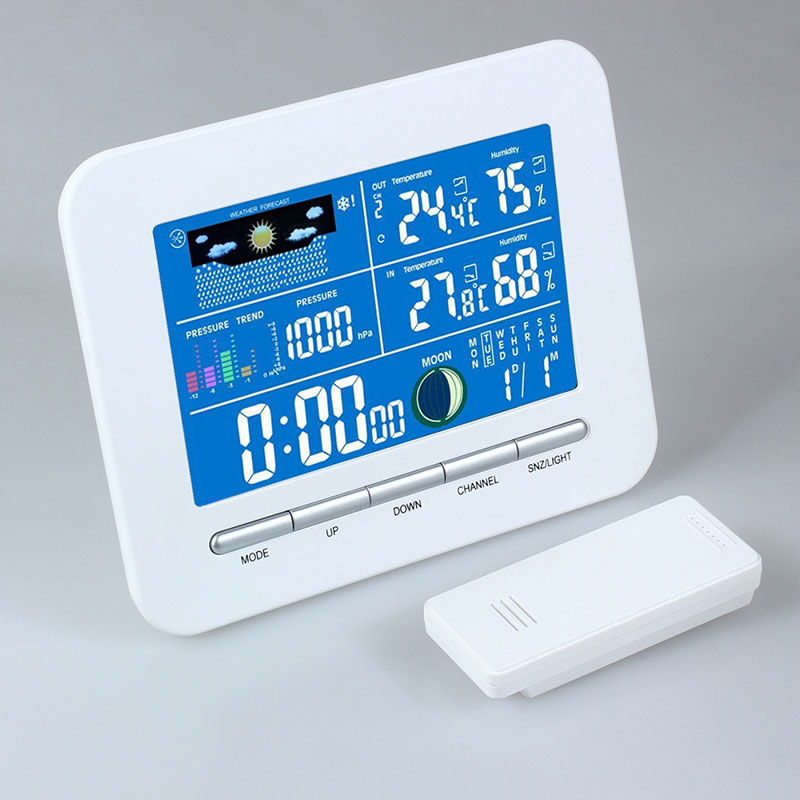Wireless Electronic Digital Temperature Humidity Meter LCD Weather Station Wireless Thermometer Humidity Metal Date Alarm Clock wireless digital thermostat sensor temperature humidity thermometers hygrometers meter alarm clock calendar weather station