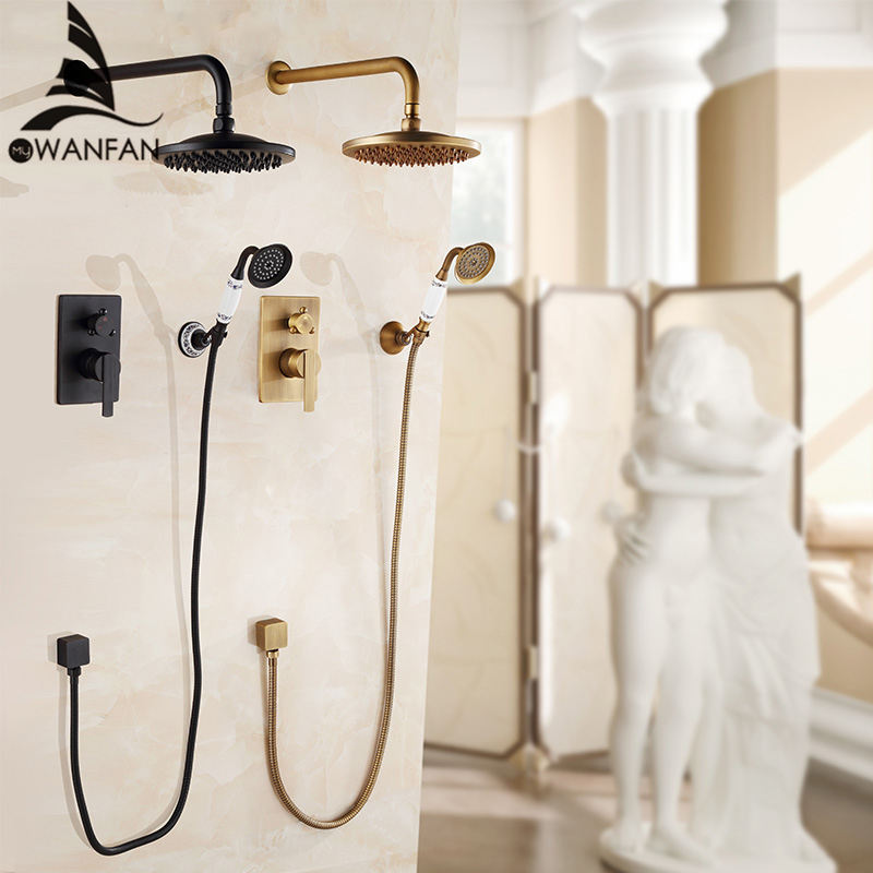 Смеситель для ванны античный смеситель для ванны тропический душ настенный скрытый смеситель для ванной комнаты смеситель для душа черный ...