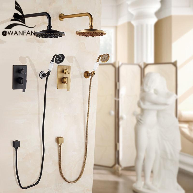 Badewanne Armaturen Antike Bad Regen Dusche Wand Verborgen Bad Armaturen Dusche Set Wasserhahn Mischer Schwarz Mixer Set Kran FS-13889