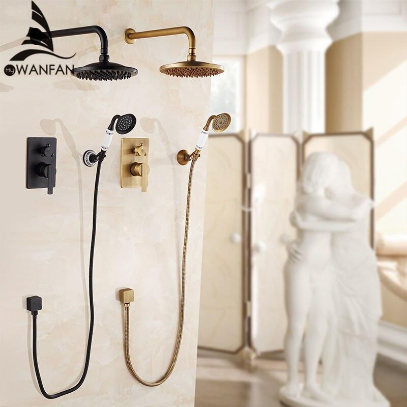 Bathtub Faucets Antique  Wall Concealed Bathroom Faucets Shower Set Faucet Mixer Black Rain shower Bath Mixer Set Crane FS-13889