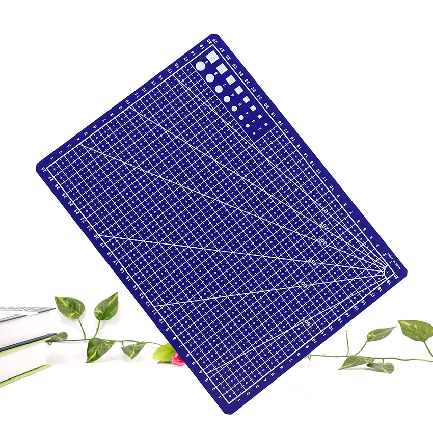A4 Grid Lines Cutting Mat Craft Card Fabric Leather Paper Board Plastic Blue Cutting Pad 30*22cm