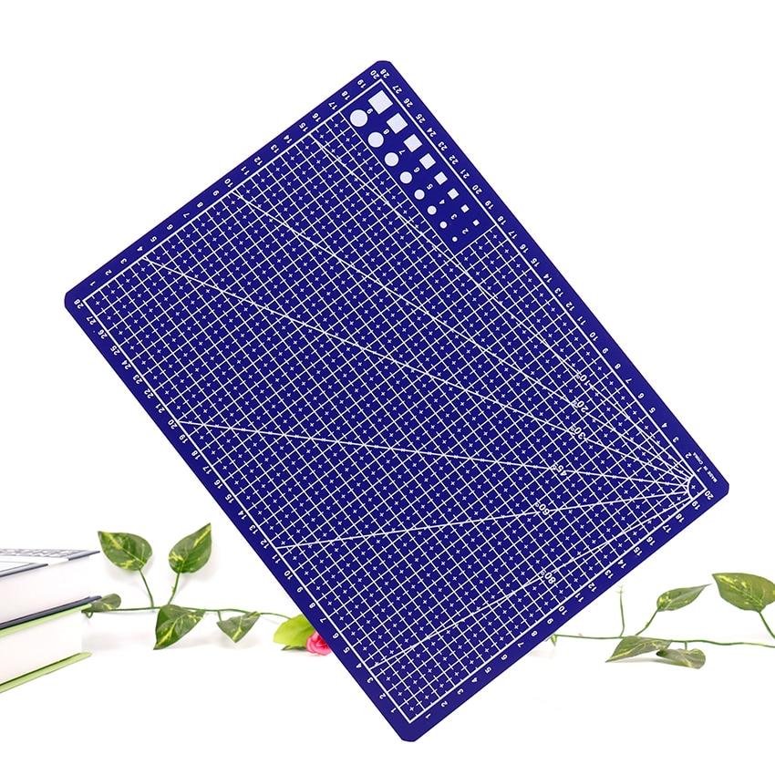 A4 Grid Lines Cutting Mat Craft Card Fabric Leather Paper Board Plastic Blue Cutting Pad 30*22cm