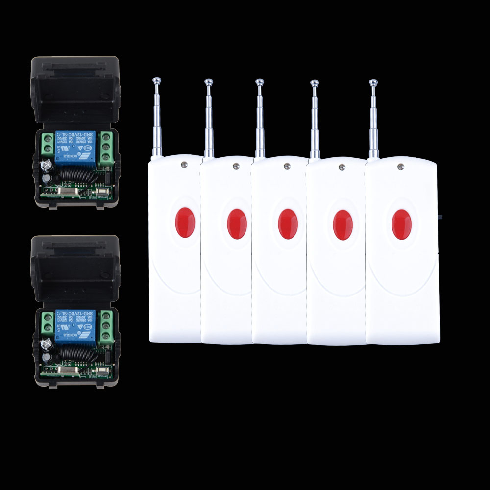цены Wireless RF Remote Control Switch DC 12V 10A 1CH ,5PCS Transmitter With Battery+ 2PCS Receiver+Case Access/door System