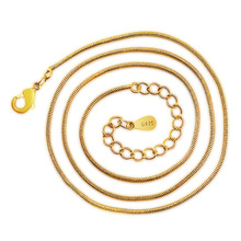 100% 925 sterling silver fashion 24K yellow gold snake chain ladies`necklaces jewelry wholesale drop shipping cheap solid 999 24k yellow gold chain unique round snake chain necklace 8g