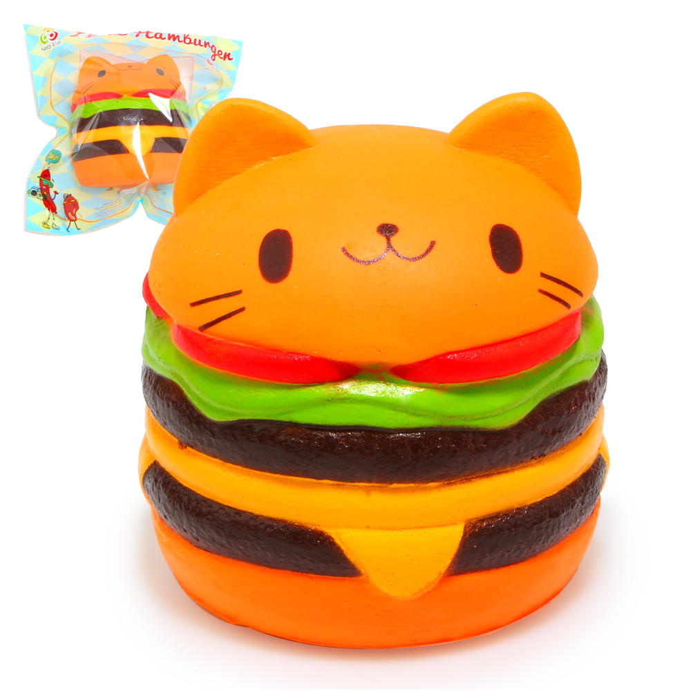 Squishy Hamburger Cat : Jumbo Squishy Kawaii Yummy Cat Hamburger Charms Bread Scented Super Slow Rising Soft Pu Kids ...
