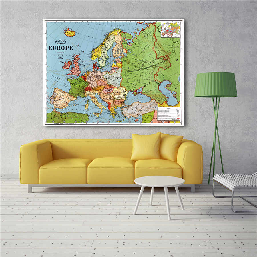 Vintage Europe Map Geographic Map Exquisite Design For Learning Education And Home Decor Wall Sticker Canvas Print Poster Aliexpress