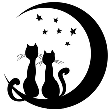 CS-563#15.5*15cm cats funny car sticker and decal silver/black vinyl auto stickers