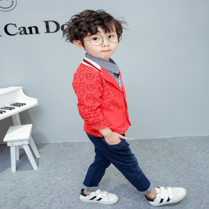Image 2 - toddler boys clothing 3 pieces/set childrens wear Korean version fall clothing house print jacket + t shirt + jeans baby suit
