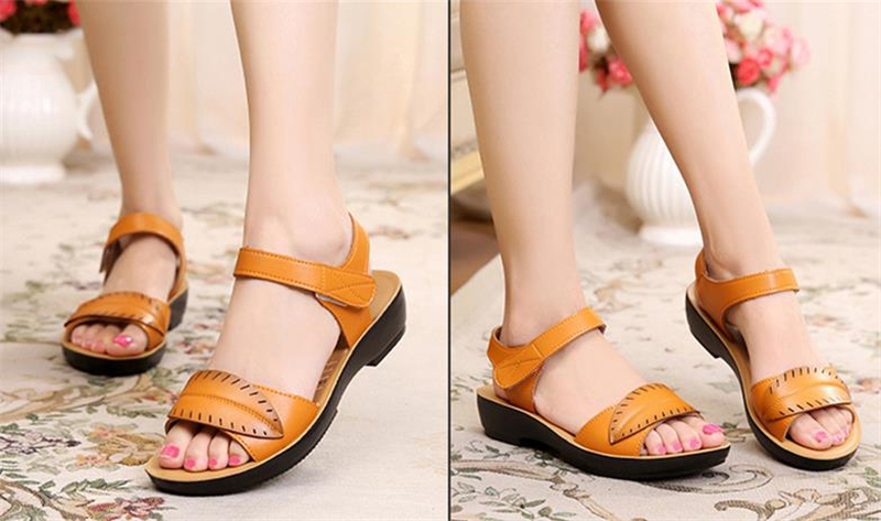 2018 new women sandals genuine leather mother's sandals flat female sandals soft bottom antiskid women sandals plus size 35-41 16