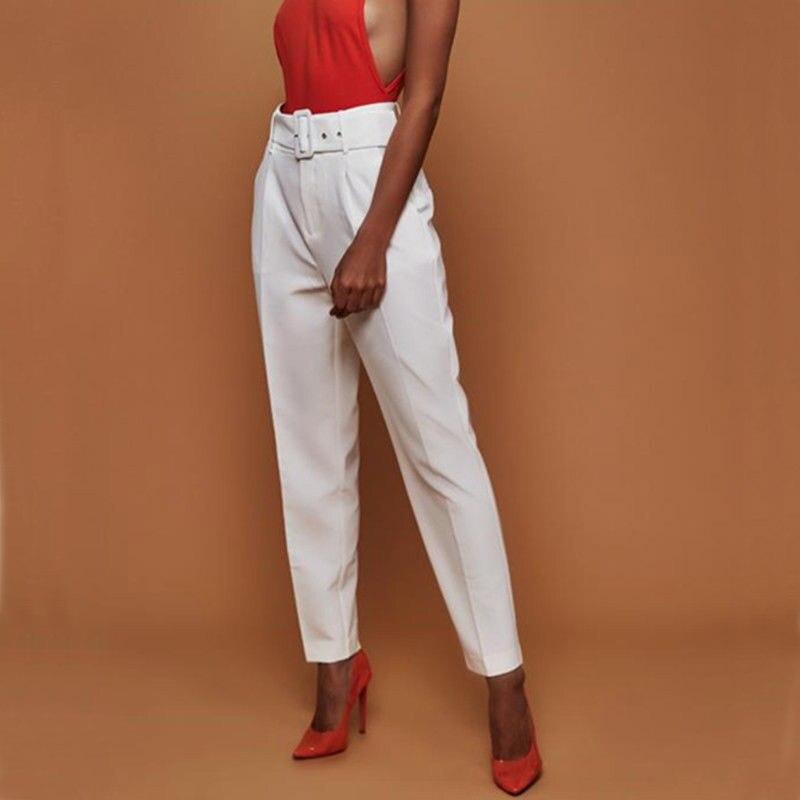 High Waist Office Lady Casual Pencil Pant Elegant Women OL Career Trousers With Belt Elastic Drawstring Pantalon Femme