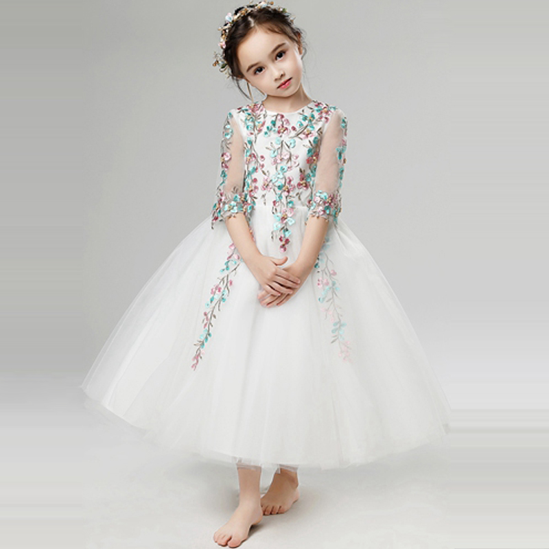 2 Styles Ball Gown Flower Girls Dress Lace Princess Dresses Beading Summer Kids Pageant Dress for Wedding Girl Party Dress D195 цена и фото
